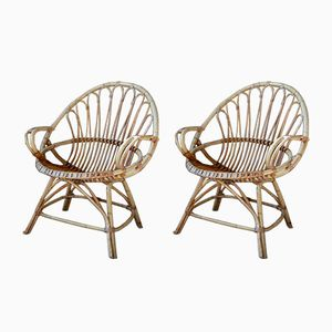Vintage Bohemian Rattan Armchairs, Set of 2