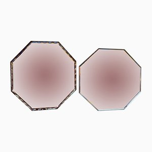 Art Deco Beveled Octagonal Mirrors, Set of 2