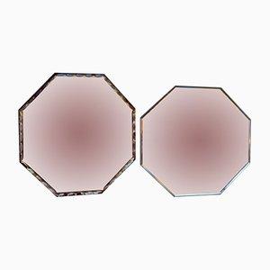Espejos Art Déco octagonales biselados. Juego de 2