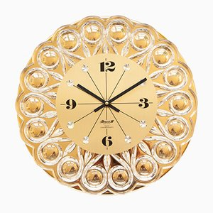 Gold-Plated Wall Clock from Junghans, 1970s