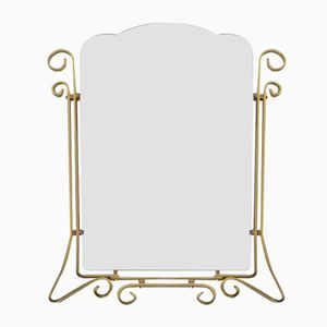 Vintage Faceted Mirror in Aluminum Frame