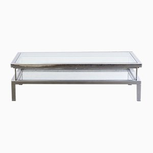 French Metal and Glass Sliding Coffee Table from Maison Jansen, 1950s