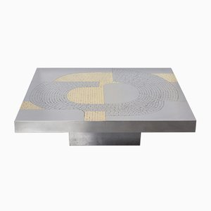 Modernist Coffee Table in Steel by Jean Claude Dresse, 1970s