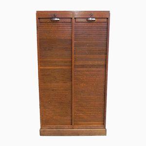Mueble de roble con puertas de persiana, años 50