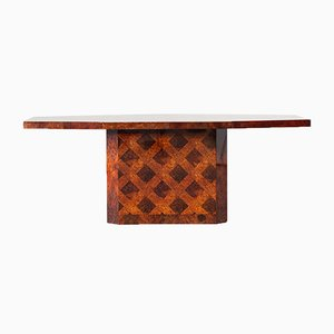 Modernist Burl Dining Table or Console, 1970s