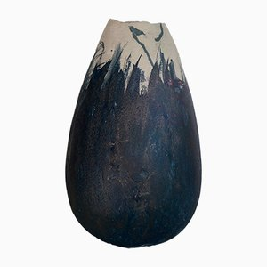 Vase Patiné Bleu Cobalt en Grès Blanc par Elsa Dinerstein