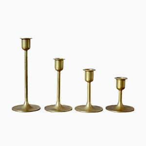 Scandinavian Brass Candlesticks, 1960s, Set of 4