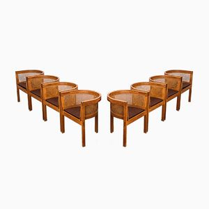 Sedie da pranzo nr. 5 in quercia e canna di Ilse Rix per Uldum Møbelfabrik, 1961, set di 8