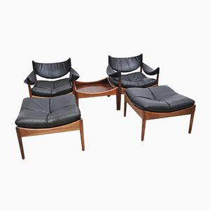 Black Leather Lounge Chairs by Kristian Vedel for Søren Willadsen, 1970s, Set of 2