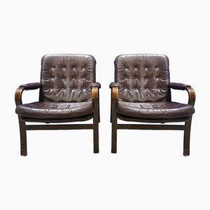 Nässjö Leather Armchairs from Göte Möbler, 1970s, Set of 2