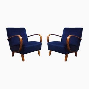 Bentwood Armchairs in Navy Blue Velvet by Jindřich Halabala for Thonet, 1930s, Set of 2