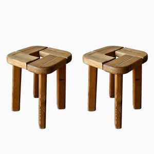 Mid-Century French Pine Stools, Set of 2