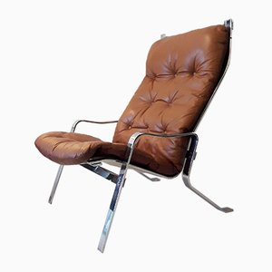 Leather & Chromed Steel Lounge Chair, 1970s