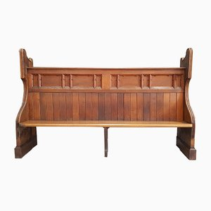 Hand Carved Oak Church Pew, 1900s