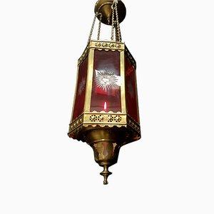 Lampe de Sacrement Antique en Verre Taillé Rubis et Laiton