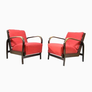 Red Armchairs by Kropáček and Koželka, 1940s, Set of 2