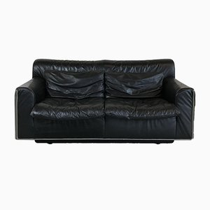 Mid-Century Modern Black Leather 2-Seater Sofa from Knoll, 1970s