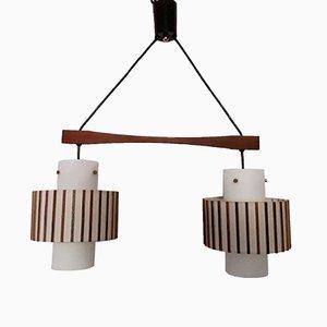 Lampada da soffitto a due luci in teak, anni '70