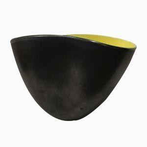 Jarrón de cerámica negra y amarilla de Elchinger, años 50