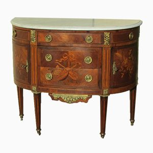 Antique Inlaid Half Moon Commode