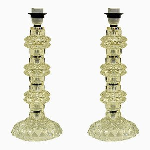 Lámparas de mesa suecas de cristal de Kosta, años 60. Juego de 2