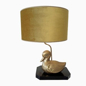 Vintage Brass Duck Table Lamp with Gold Velvet Shade, 1960s