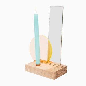 Portacandele da tavolo con filtro giallo/arancione e specchio di Studio Thier&vanDaalen, 2018