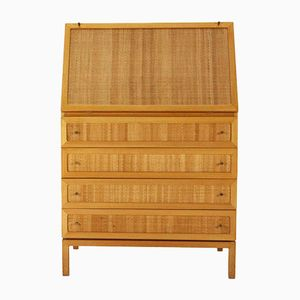 Ash Desk with Rattan Braided Front, 1950s