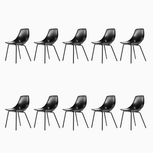 Tonneau Chairs by Pierre Guariche for Steiner, 1950s, Set of 10
