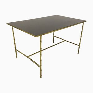 French Brass & Faux Bamboo Coffee Table with Black Glass, 1970s