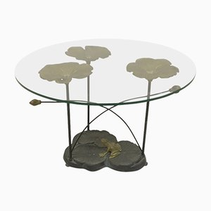 Brass and Iron Lily Pad Coffee Table, 1970s