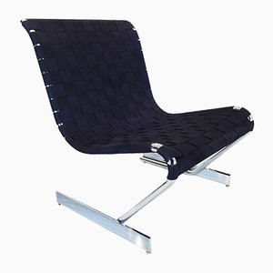 Mid-Century Scandinavian Chrome and Webbing Lounge Chair