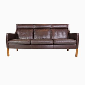 Model 2433 Three-Seat Leather Sofa by Børge Mogensen for Fredericia, 1970s