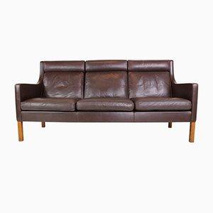 Sofá de tres plazas modelo 2433 de cuero de Børge Mogensen para Fredericia, años 70