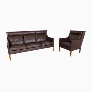 Vintage 3-Sitzer Sofa & Ohrensessel von Børge Mogensen für Fredericia, 1970er
