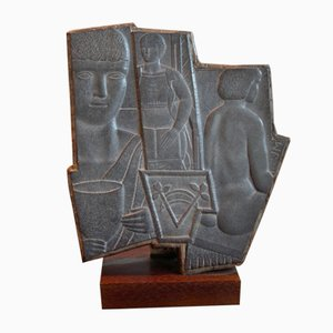 Slate Modernist Sculpture by John Mckenzie, 1940s