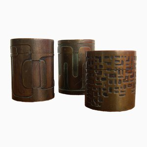 Brutalist Bronze Boxes by Sottolichio, 1970s, Set of 3