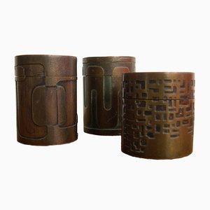 Portaoggetti brutalisti in bronzo di Sottolichio, anni '70, set di 3