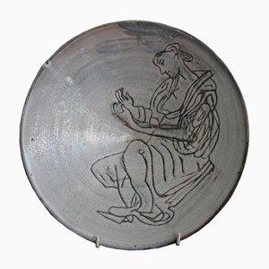 Piatto in ceramica di Roger Capron, Francia, 1954
