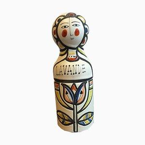 Bottiglietta da profumo con custodia a forma di bambola russa in ceramica di Roger Capron, anni '60
