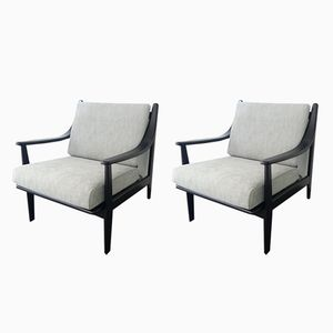 Lacquered Wood Armchairs, 1968, Set of 2