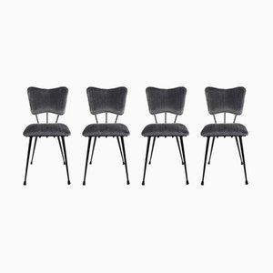 Französische Stühle mit Samtbezug, 1950er, 4er Set