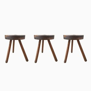 Vintage French Tripod Stools, Set of 3
