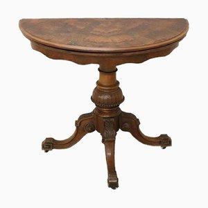 Tavolo da gioco antico in noce, metà XIX secolo
