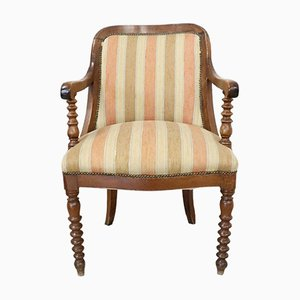 Antique Solid Walnut Empire Armchair