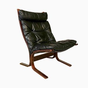 Siesta Sessel mit hoher Rückenlehne aus Leder von Ingmar Relling für Westnofa, 1960er
