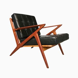 Z-Chair in Leather & Teak by Poul Jensen for Selig, 1950s