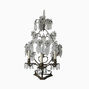 Antique Crystal & Steel Table Lamp, 1870s