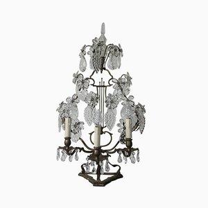 Lámpara de mesa antigua de cristal y acero, década de 1870
