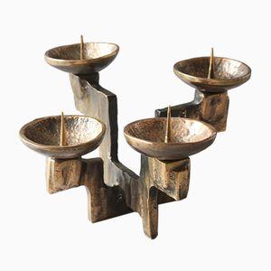 Brutalistischer Kerzenhalter aus Bronze, 1970er